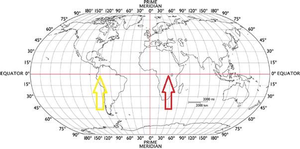 Satellite coordinates longtitude and latitude